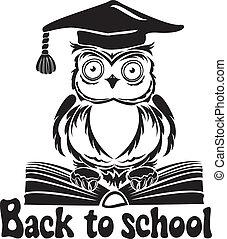 装飾用である, フクロウ, 学校, 紋章, -, 帽子, 本, 隔離された, 卒業, 背中, バックグラウンド。, 白い鳥