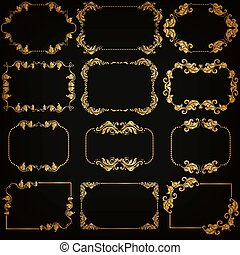 装飾用である, ベクトル, セット, 金, フレーム, ボーダー