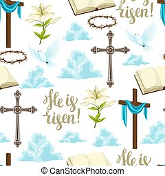 装飾用である, 信頼, パターン, seamless, シンボル, objects., 幸せ, 宗教, イースター