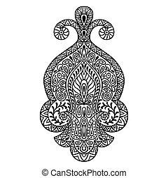 装飾用である, 入れ墨, henna, ornament., 手, indian, 民族, 引かれる, 要素
