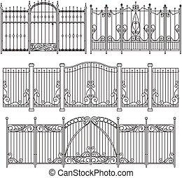装飾用である, 別, elements., フェンス, ベクトル, デザイン, 鉄, イラスト, 門
