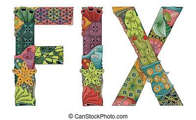 装飾用である, 単語, オブジェクト, fix., ベクトル, zentangle