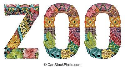 装飾用である, 単語, オブジェクト, zoo., ベクトル, zentangle