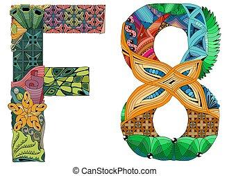 装飾用である, 単語, 運命, オブジェクト, 装飾, ベクトル, zentangle.
