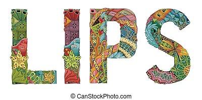 装飾用である, 単語, lips., オブジェクト, ベクトル, zentangle