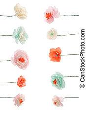 装飾用である, 取り決められた, 隔離された, papercraft, 多彩, 白い花