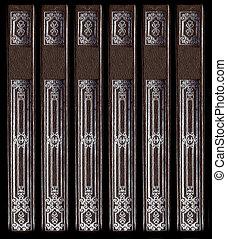 装飾用である, 古い, 革, 型, 脊柱, 本, 詳細, 銀