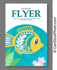 装飾用である, 夏, 床, fish, 海洋, ベクトル, フライヤ, it., 藻