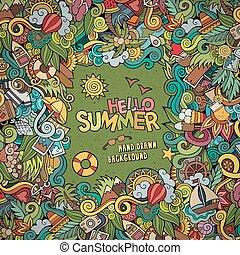 装飾用である, 夏, 抽象的, ベクトル, doodles, フレーム