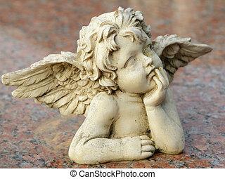 装飾用である, 彫刻, の, putto, 隔離された, 上に, 花こう岩, 表面
