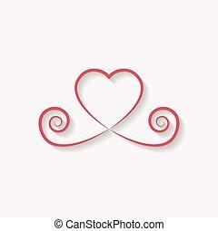 装飾用である, 心, 使用, 愛, illustration., 金, バラ, シンボル, バックグラウンド。, ベクトル, 黒, 装飾, icon., きらめき, 影, ロゴ, design.
