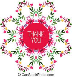 装飾用である, 感謝しなさい, パターン, ornament., 水彩画, 花, あなた, ラウンド, カード