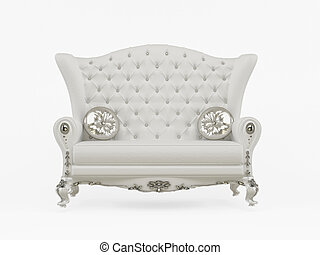 装飾用である, 枕, ソファー, 現代, 隔離された, 背景, 白