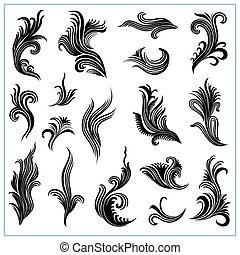 装飾用である, 植物, 抽象的, セット, 1