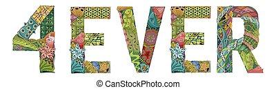 装飾用である, 永久に, 単語, オブジェクト, 装飾, ベクトル, zentangle.