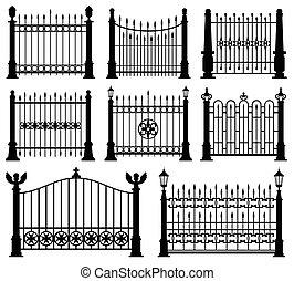 装飾用である, 細工された, フェンス, そして, 門, ベクトル, セット