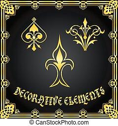 装飾用である, 花の意匠, 要素, そして, 装飾