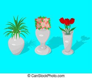 装飾用である, 花, セット, 水差し, つぼ