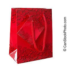 装飾用である, 花, 贈り物袋, 背景, 白, 装飾, 赤