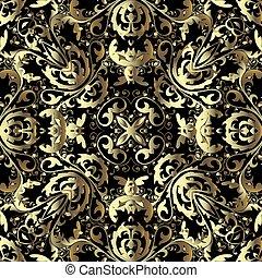装飾用である, 花, 金, 装飾用, バロック式, 花, 装飾, 骨董品, 表面, texture., バックグラウンド。, pattern., ベクトル, 繰り返し, leaves., 金, 華やか, design., 3d, 型, seamless, 贅沢, ルネッサンス