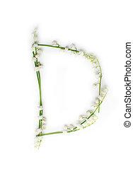 装飾用である, 花, d, アルファベット, 創造的, 手紙, 英語, letters.