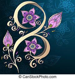 装飾用である, 花, flowers., 背景