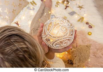 装飾用である, 華やか, クリスマス, きらめき, swirly, 装飾, 安っぽい飾り, デザイン