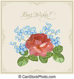装飾用である, &, 葉書, 型, フレーム, 花