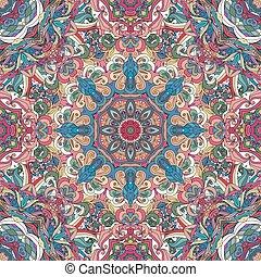 装飾用である, 装飾用, 穴にひもを通された, motive., タイル, 繰り返すこと, 祝祭, ornament., pattern., seamless, ベクトル, ∥あるいは∥, boho, mandala., indian, 東洋人, 背景, 幾何学的, 花, アラビア, style.