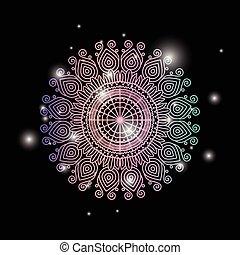 装飾用である, 装飾用, 花, カラフルである, 輝き, 色, 型, 才知に長けている, 黒い背景, mandala