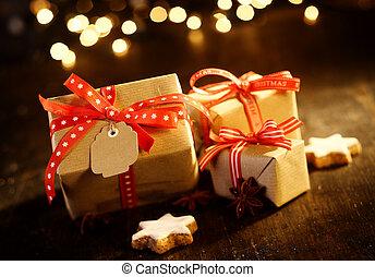 装飾用である, 贈り物, bokeh, クリスマス, 光っていること