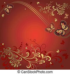 装飾用である, 赤, 花, フレーム