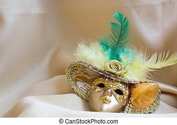 装飾用である, 金, 金, マスク, 羽, ミニチュア, 背景