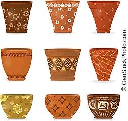 装飾用である, 陶器, 花 鍋, コレクション, あなたの, design.