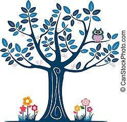 装飾用である, 青, シルエット, 木