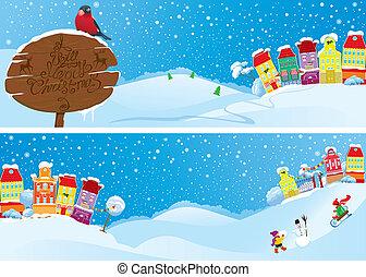 装飾用である, 青, 小さい, セット, 冬, カラフルである, 旗, ライト, 町, 空, 家, time., デザイン, 背景, 年, イメージ, 新しい, 横, クリスマス, 妖精