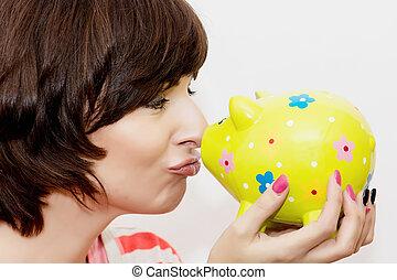 装飾用である, 面白い, 女, セラミック, 若い, 貯金箱