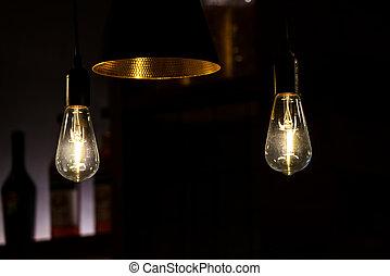 装飾用である, 骨董品, 電球, ライト, 現代, ランプ, レストラン