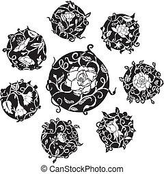 装飾用である, dingbat, 花, デザイン, ラウンド