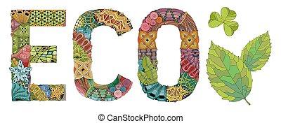 装飾用である, eco., 単語, オブジェクト, ベクトル, zentangle