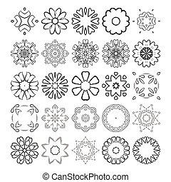 装飾用である, elements., set., ornament., ベクトル, デザイン, 円