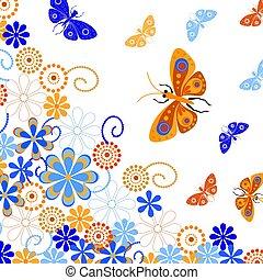 装飾用である, flowers., 蝶, 背景