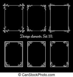 装飾用である, frames., 型, calligraphic, ベクトル, 花, ボーダー, 活気づきなさい