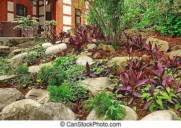 装飾用である, garden., 石, 自然, 家, landscaping., 台地, 裏庭, 家具