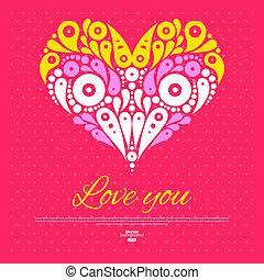 装飾用である, heart., バレンタイン, 招待, 結婚式, 流行, 日, カード