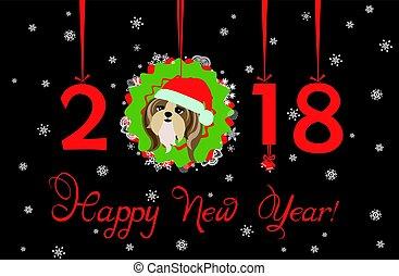 装飾用である, tsu, shi, 中国語, 花輪, 挨拶, ペーパー, 数, 年, 掛かること, 新しい子犬, カード, 2018