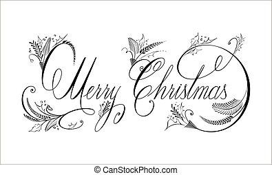 装飾用の文字, テキスト, calligraphy., ベクトル, 陽気, クリスマス。, 活気づくこと, 手書き