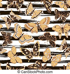 装飾用の木型, seamless, butterflies.