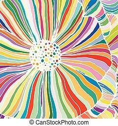 装飾用, アウトライン, いたずら書き, 抽象的, ベクトル, ストライプ, 背景, 花