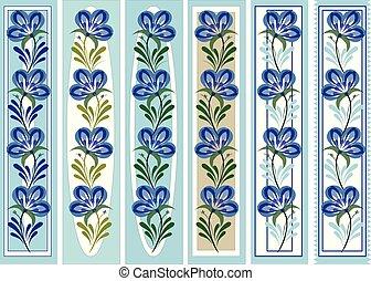 装飾用, スタイル, petrykivka, しおり, 花, 人々